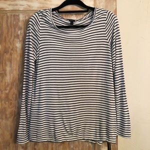 J. Crew White/Blk Striped Long-Sleeve Viscose Top
